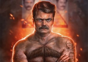 Ron Swanson on fire