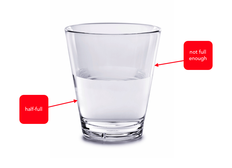 is your glass half full or It's the age-old question: is the glass half full, or half empty according to happiness researcher shawn achor, it doesn't matter our entire brain is focused on the glass, whether it's half .
