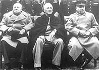 Churchill, Roosevelt and Stalin attend the Yalta Conference